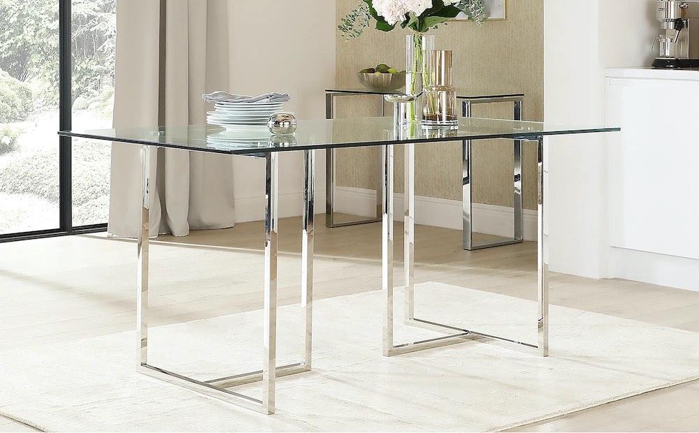 Lisbon Glass and Chrome Dining Table